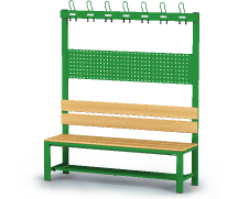 Benches with backrest and racks, beech sticks -  with a reclining grate 1800 x 1500 x 430